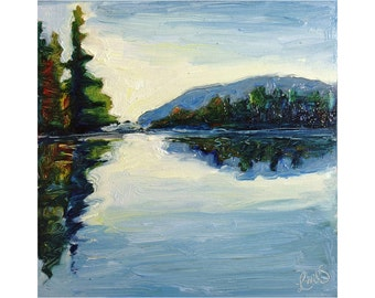 Lake Effects - Original Oil Painting - Watson Pond, Belgrade Lakes, Maine - 5x5