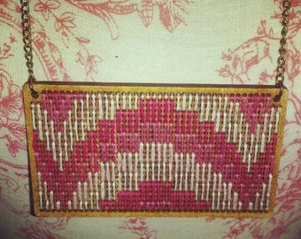 Vintage Bargello Embroidered Wooden Pendant. Retro Pattern in Various shades of Pink on a Long Brass Antique Chain Necklace 26 inches/66cm