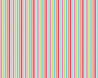 Flutter berries fabric by Riley Blake and Fabric Shoppe- Stripe in Multi, You Choose the Cut, Free Shipping Available