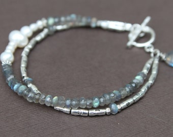 Labradorite Freshwater Pearl Silver Pewter Double Strand Bracelet Handcrafted Sundance Style
