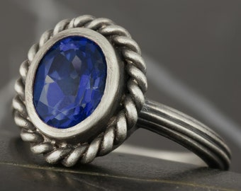 Sapphire ring in antiqued solitaire engagement ring in sterling silver