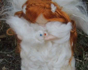 Wool Angel - White Winter Peace Maiden with Dove- Waldorf Inspired wool needle felted standing doll