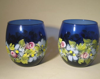 Blue Glass Stemless Wine Glasses Hand Painted With Roses