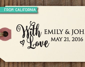 With Love Wedding Favor Tag CUSTOM STAMP with proof from usa, Self-Inking Stamp for Wedding Favor Tag, Wedding Gift Tag, Party Gift Tag 234