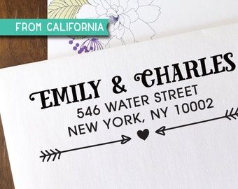 CUSTOM ADDRESS STAMP with proof from usa, Eco Friendly Self-Inking stamp, address stamp, custom stamp, heart  arrow custom stamp, stamp 238