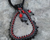 Beaded Cabochon Necklace - Grateful Heart - Bead Weaving - Statement Necklace - Painted Jasper