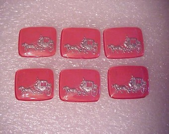 12 Royal Carriage Cinderella old stock 50s Glass Intaglio jewelry and crafts #1