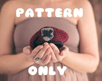 Crochet Army Beret PATTERN- Comes with directions for sizes Newborn thru 24 months