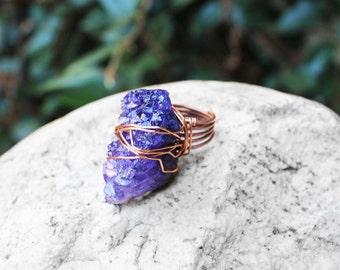 Crystal Quartz Druzy Ring, Stone Ring, Wire Wrapped Ring, Statement Ring, Crystal Druzy Ring, Size 8, Copper, Purple Druzy Stone Ring