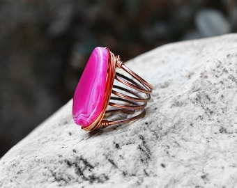 Natural Stone Ring, Wire Wrapped Ring, Agate Stone Ring, Statement Ring, Size 8, Copper, For Her, Kora Hot Pink Natural Stone Wire Ring
