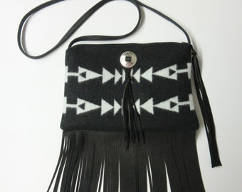 Fringed Cross Body Bag Purse Shoulder Black Deer Leather Native American Print Wool from Pendleton Oregon
