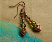 Drops of Love - Copper and glass bead earrings
