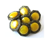 6 Buttons, vintage, metal, brass color  with inside yellow trim, great for buttons jewelry, 15mm