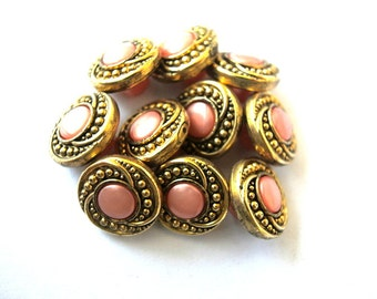 Buttons, 6 flowers buttons, antique vintage pink with antiqued gold-choose size