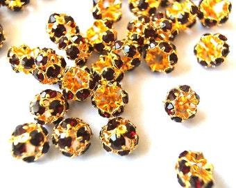 6 Vintage Swarovski beads red crystals rhinestone mounted on metal mushroom shape, half ball shape, cap shape