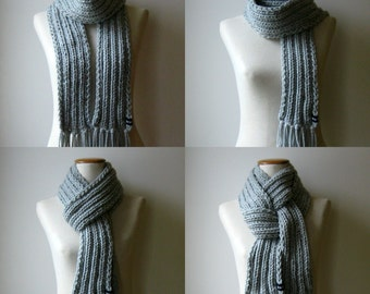 Gray Wool Chunky Knit Scarf, Wrap, Long, Neck Warmer, Mens, Womens Scarves, Cute, Knit Fringe Scarf, Thick Scarf, Hand Knit Scarf, Wool