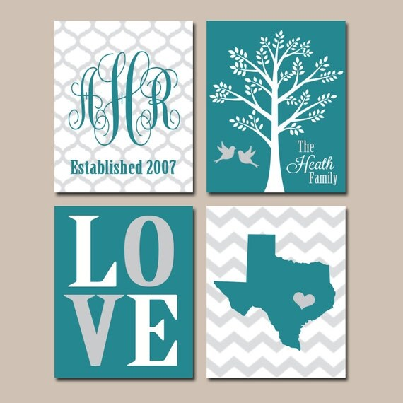 teal personalized family wall art custom family tree state. Black Bedroom Furniture Sets. Home Design Ideas