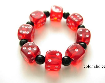 d6 Dice Bracelet Geekery COLOR CHOICE Stretch bunco party favors stocking stuffers bridal shower gambling gifts casino rockabilly jewelry