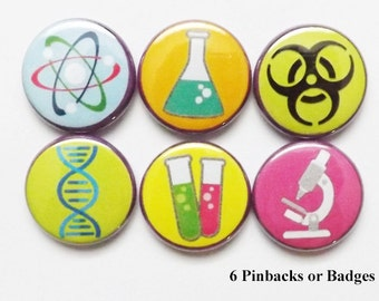 Science Geekery PINBACK BUTTONS badges pins party favors stocking stuffers dna test tubes beaker microscope atom nerd magnets teacher gifts