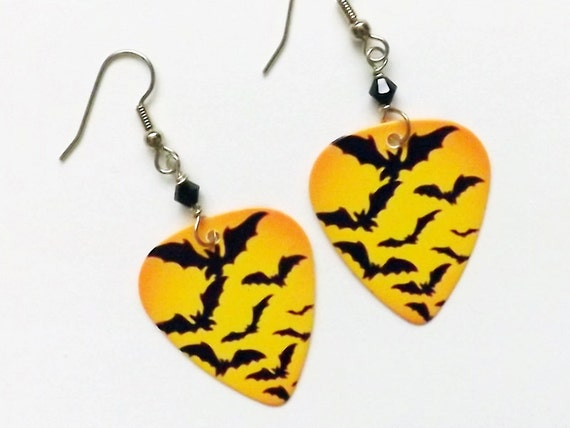 Guitar Pick Earrings Spooky Halloween bats party favors stocking stuffers gifts trick or treat costume horror goth macabre geekery