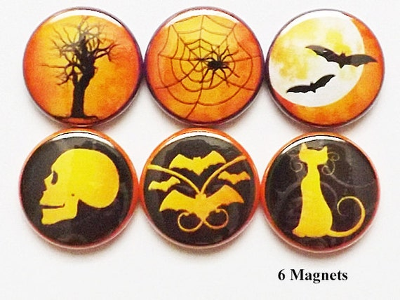 Spooky Halloween MAGNETS 1 inch skull bats cat spider web mood trick or treat party favors stocking stuffers goth silhouette pins geek gift