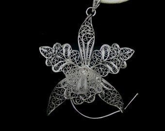 Orchid - Silver Filigree Brooch