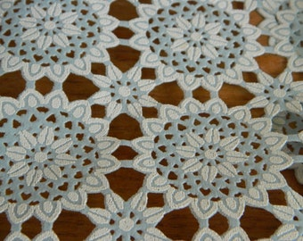 Vintage Vinyl Table Runner- Pieces--Faux Light blue and White Lace
