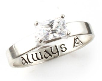 wizard ring geeky engagement ring sterling silver and cubic zirconia always nerdy engagement ring promise ring fandom jewelry