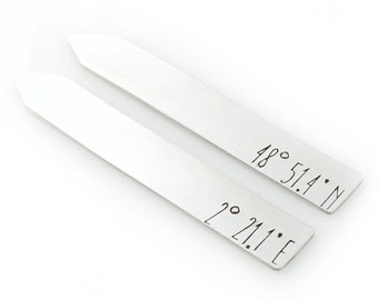 Custom Coordinates Collar Stays - Personalized Collar Stays - Your Latitude & Longitude  - Gift for Him