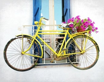 "Bicycle art print yellow bike with flowers Greece photography large wall art bike poster print ""Yellow Bike"""