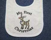 My First Christmas Reindeer  Baby Bib - Custom Orders Welcome....
