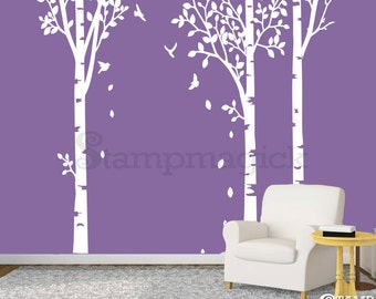 Birch Trees Wall Decal - 9 feet tall - Removable Vinyl Wall Decal - Wall Mural - Home Decor Graphics - K109C