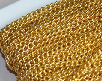 32ft spool of gold finished small curb chain 2.2 mm - Soldered links, thick curb chain, 4mm jumprings can fit, gold chain