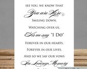INSTANT DOWNLOAD - Memorial Sign - 5x7 and 8x10 - Wedding Signs In Memory Of- pdf and jpg printable file