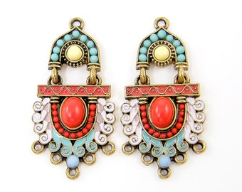 Art Deco Earring Findings Ornate Pastel Antique Gold Lavender Aqua Turquoise Red Beaded Drop Chandelier Jewelry Component |R6-2|2