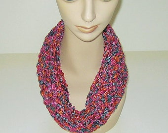 Infinity Scarf PInk Orange Blue Ribbon Yarn