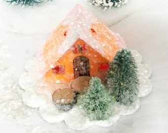 Vintage Putz Style Handmade Miniature Orange Glitter Sugar House with Hand Cut Trees for Christmas Village or Ornament can be LIGHTED