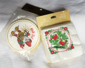 Unopened Vintage 1970s Hallmark and Scandia Gnome Elf Christmas Party Beverage Napkins and Coasters Ephemera Great Scrapbook Supplies
