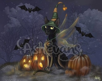 Fall black cat Halloween pumpkin art print