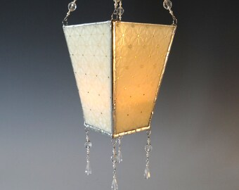 White on Ivory Fused Glass Hanging Lantern Elegant Bridal Wedding 22K Gold