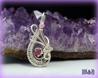 Sterling Silver Wire Wrapped Pendant with Ruby & Pink Morganite