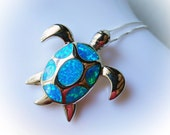 Sea Turtle Necklace created blue fire opal charm necklace 925 sterling silver tortoise nature nautical Jewelry for women pendant rainbow