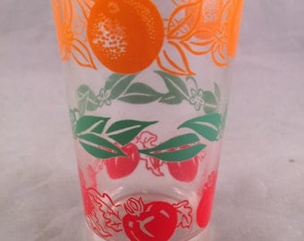Vintage SWANKY SWIG Style 1950's Era Juice Glass with Tomatoes and Oranges