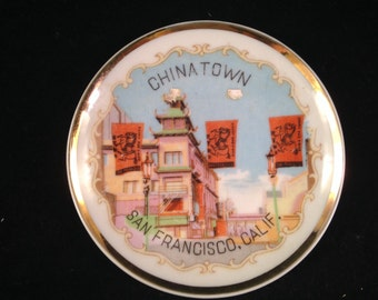 Vintage Souvenir China Small Plate of Chinatown in San Francisco California