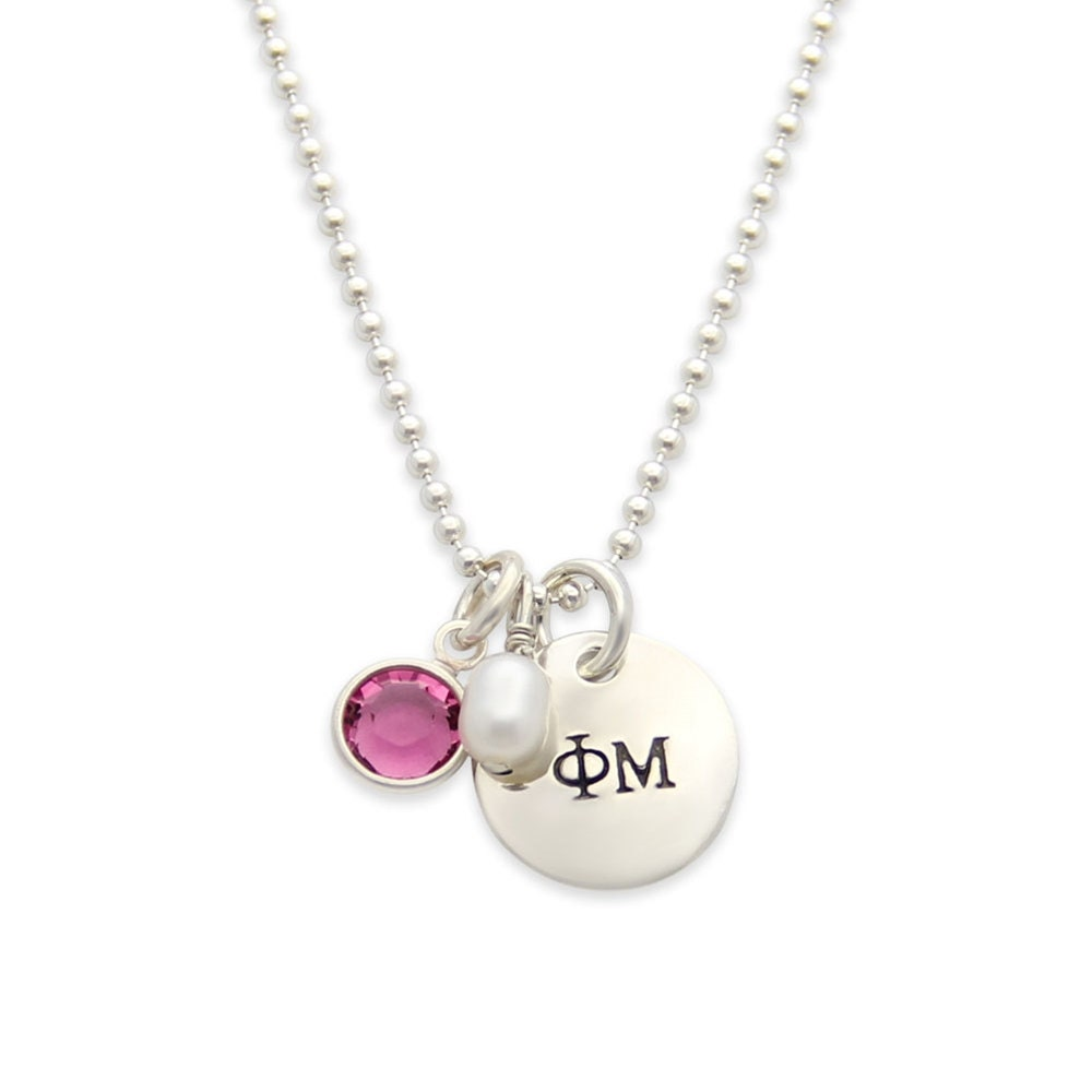 official licensed phi mu sorority necklace personalized