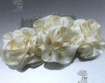Ivory Satin Full Bloom Roses on 3 inch Comb
