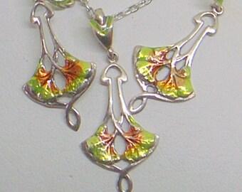 Enamel Art Nouveau Necklace And Earrings  - Ginko  - Sterling Silver - Green Orange Brown Guilloche' Enamel - Lovely - Dangle Earrings
