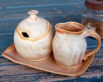 Sunburst Creamer And Sugar Jar Set with Tray - Made to Order
