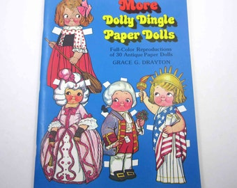 Vintage Uncut Paper Doll Book for Children Entitled More Dolly Dingle Paper Dolls by Grace G. Drayton and Dover