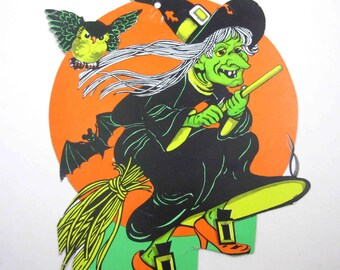 Vintage Orange Green Yellow and Black Witch on Broomstick with Owl Halloween Decoration or Die Cut